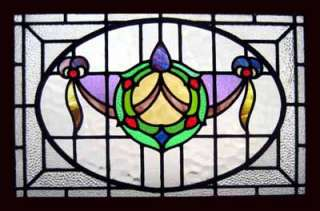 ART NOUVEAU SWAG ANTIQUE STAINED GLASS WINDOW