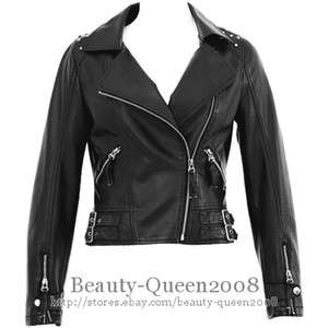 NWT Womens Black Faux Leather Biker Jacket Motorcycle Studded&Cropped