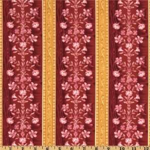 44 Wide Janelle Brocade Le Fleur Stripe Rose Fabric By