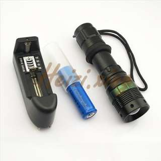 500 lumens CREE Q5 LED Zoomable Flashlight Torch light + 1x18650