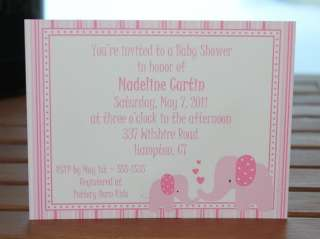 Mommy and Baby Elephant Personalized Baby Shower Invitations   Set of