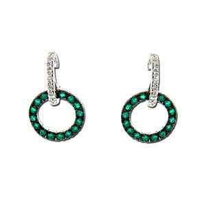 14k White Gold Emerald & Diamond Earrings (0.55 ctw