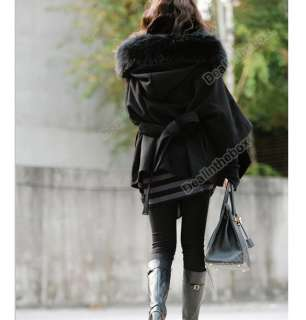 Womens Double Breasted Coat Fur Collar Wool Blend Long Warm Winter