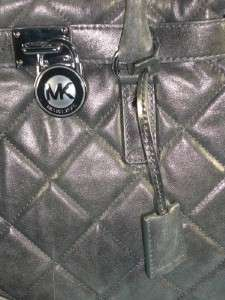 Michael Kors Nickel Leather Hamilton Quilt Large Tote Handbag Purse