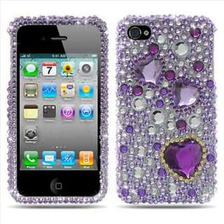 Purple Heart Bling Hard Case Cover for Apple iPhone 4S Sprint Verizon