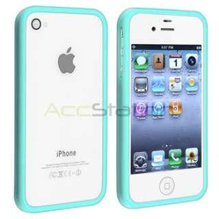 TPU Rubber Cover Case+Anti Glare LCD Guard for iPhone 4 G 4S