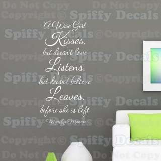 WISE GIRL KISSES LOVE MARILYN MONROE Quote Vinyl Wall Decal Decor