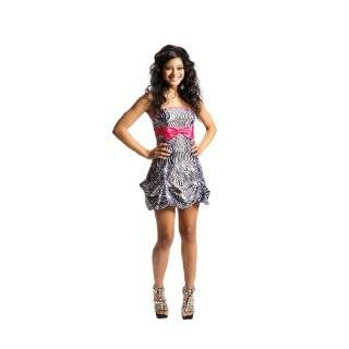 Zebra Strapless Satin Bubble Prom Dress Holiday Coctail Party Gown w