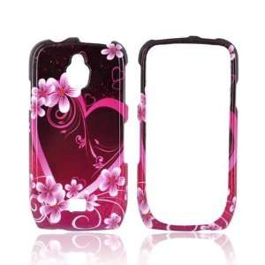 Purple Flowers & Hearts Hard Plastic Case For Samsung Exhibit T759