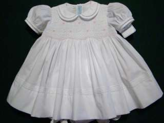 HAND~EMBROIDERED BABY GIRLS SMOCKED WHITE / PINK DRESS W/FAGOTING 3M