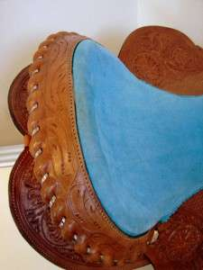 Duty Barrel Racer Show Western trail Saddle 16 Blue w/Bling Showman