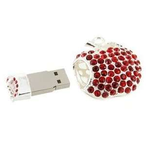 Cute 2GB Apple Shape USB Flash Drive with Rhinestone (Red