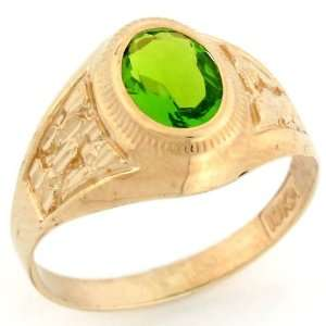 Synthetic Peridot August Birthstone Diamond Cut Nugget Unisex Ring