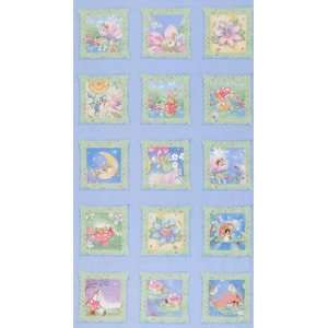 44 Wide Timeless Treasures Flower Fairies Panel Blue Fabric By The