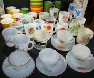Huge Lot 50 Fire King Anchor Hocking Federal Milk Glass Mugs Cups
