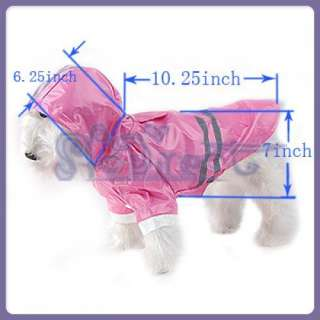 Princess Pink Dog Puppy Rain Coat Jacket Raincoat New