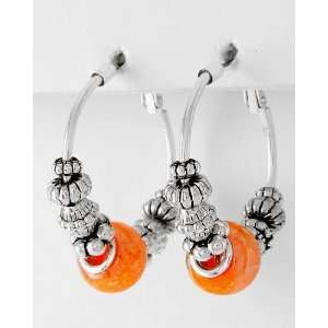Hoop Earrings ~ Lightweight Silver Beads & Orange Murano Glass Beads