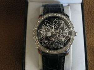 GNW BLACK LEATHER BAND WOMENS BUTTERFLY FACE WATCH NEW