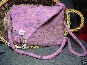 hand spun knitted felted alpaca wool beaded purse new