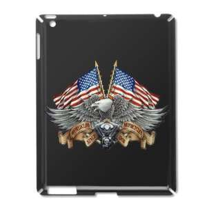iPad 2 Case Black of Eagle American Flag and Motorcycle