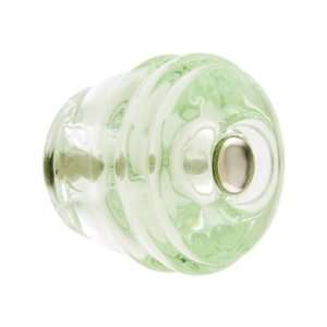 Round Depression Green Glass Cabinet Knob.