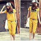 New Fashion women Casual Cool Sport Short Tops Pants Jogging Trouser