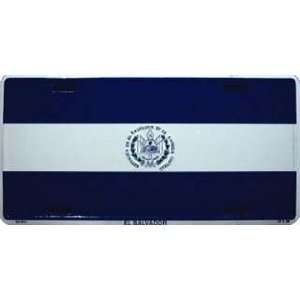 El Salvador Country Flag Embossed Metal License Plate Auto