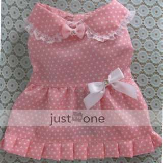 Pet Dog Apparel Clothes Dress dots Bowknot Skirt M pink