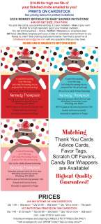 Sock Monkey Birthday Baby Shower Invitations   UPRINT