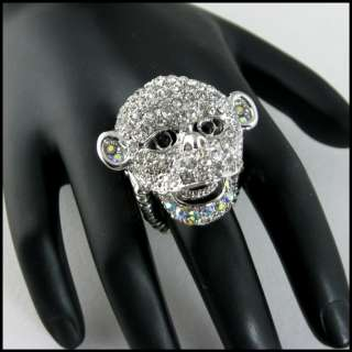 HOT SteamPunk CLEAR CRYSTAL MONKEY Face Statement Ring