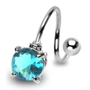 Surgical Steel Belly Button Navel Ring Twist with Aqua Round Gem Non