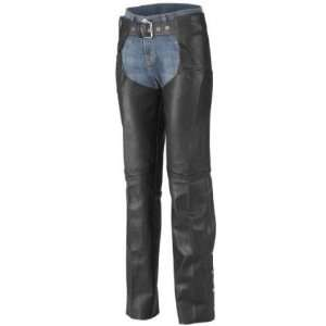 River Road Plain Black Leather Motorcycle Chaps (Mens