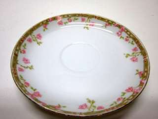 ANTIQUE O&EG ROYAL AUSTRIA CHINA SMALL PLATES SAUCERS WHITE PINK