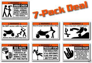 Pack Sport Quad ATV Warning Stickers Decal Raptor 700