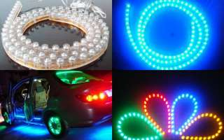 4x24cm LED Strip Car Lights Flexible Grill Light Blue