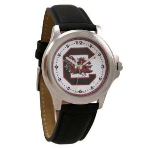 South Carolina Gamecocks Mens Black Leather Rookie Watch Jewelry