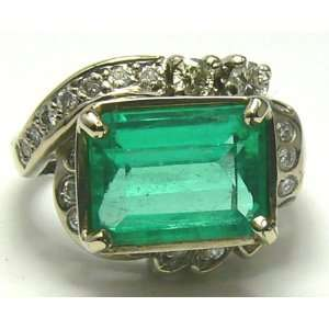 5.20tcw Art Deco Emerald Cut Colombian Emerald & Dimaond