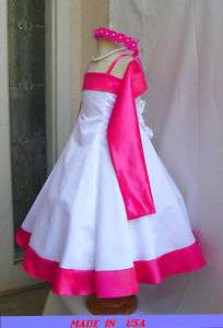DK5 NEW FUSCHIA PAGEANT BRIDESMAID FLOWER GIRL DRESS
