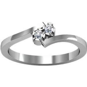 18K White Gold Promise Diamond Ring   0.06 Ct. Jewelry
