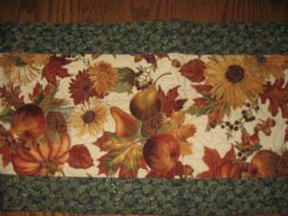 Quilted Table Runner Thanksgiving Fall Leaves Christmas Pine Cones