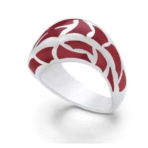 ITALIAN STERLING SILVER RING WITH RED ENAMEL Jewelry