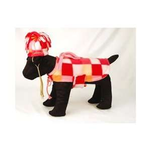 Velcro Closure Warm and Cozy Pink Giant Check Polar Fleece Dog Coat