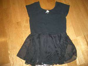 CAPEZIO Girls Black Dance Gym Leotard w Skirt L