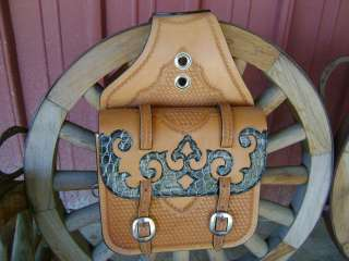 MAD COW CROCODILE OVERLAYED LEATHER WESTERN HORSE COWBOY SADDLE BAGS