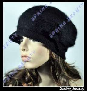 Lovely Flower Soft & Warm Rabbit Fur Ski Beanie Hat Cap Black