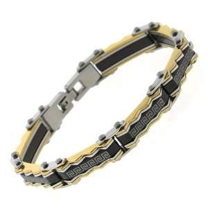 Mens Stainless Steel Three Tone Pyramid Greek Key Link