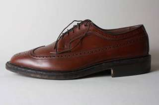 Vtg Allen Edmonds Brown Leather Wingtip Oxford Shoe 9.5
