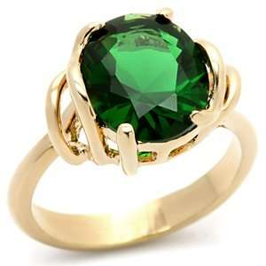 Gold CZ Rings   Oval Emerald Green CZ Ring Jewelry