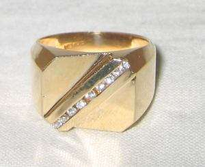 Estate 14K Solid Gold .20ct Diamond Polished Mans Ring