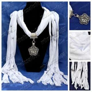 New Fashion white Scarves Jewelry Cotton Necklace Scarf pendant women